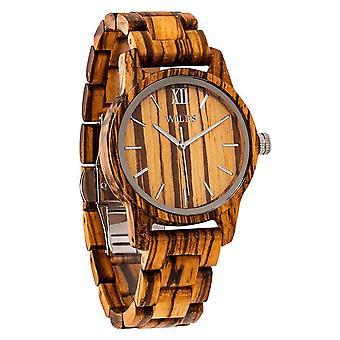 Herren's handgemachte Zebra Holz, elegante und edle Uhr