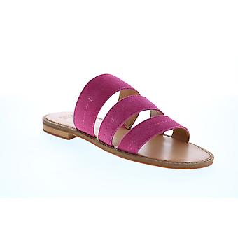 Frye & Co. Evie 3 Band Slide  Womens Pink Suede Slides Flats Shoes