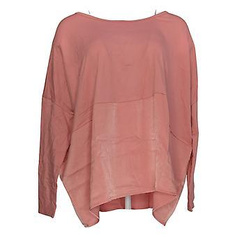Anyone Women's Top Cozy Knit Oversized Top w/ Satin Trim Pink A367657