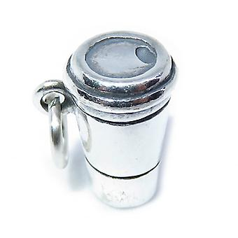 Paper Coffee Cup Sterling Silver Charm .925 X 1 Drinks Charms - 8286