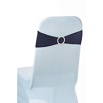 Stretchable Spandex Chair Sashes With Round Diamante Buckles , Navy Blue