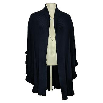 Colleen Lopez Women's Sweater Light Weight Ruffle Poncho Blue 731238