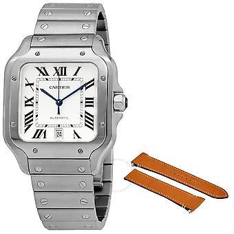 Cartier Santos Silvered Opaline Dial Men's Watch WSSA0018