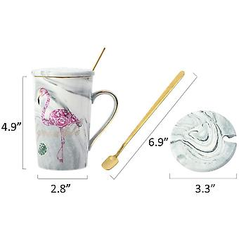 DZK Flamingo Ceramic Mugs Wedding Gift Set, Marble Coffee Tea Cups with Gift Box for Bridal Shower