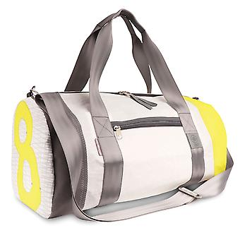 360 degree pirate sports bag, weekender in sail white/yellow/grey, number yellow and strap grey, long strap