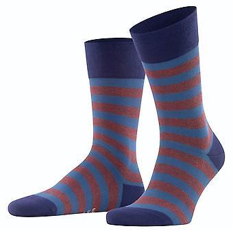 Falke Sensitive Mapped Line Socks - Lapis Blue/Brown