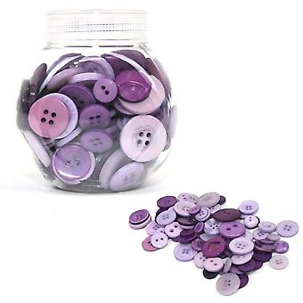 LAST FEW - 120g Mixed Size and Shade Button Tubs for Crafts - Purples
