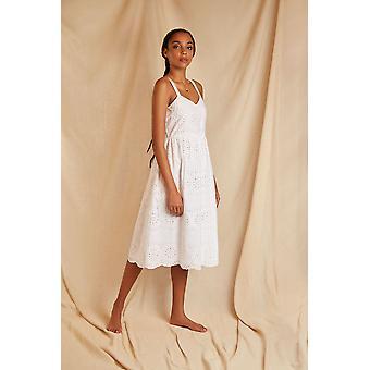 Louche Sustain Womens Vaila Broderie Strappy Midi Dress White