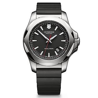 Victorinox I.N.O.X. Relógio masculino, caixa de aço inoxidável, pulseira de borracha preta - 43 mm