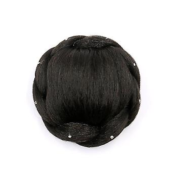 Synthetic Chignon Hair Hairpiece Bun Hairpin With Diamond