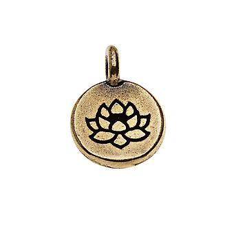 Pewter TierraCast, Charm rotondo fiore di loto 16,5x11,5 mm, 1 pezzo, finitura in ossido di ottone