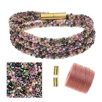 Påfyllning - Pärl Kumihimo Wrap Armband Kit-Rose Tone - Exklusivt Beadaholique Smycken Kit
