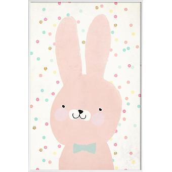 Stampa JUNIQE - Coniglio 2 - Poster coniglio in rosa e bianco