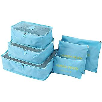 Blue 6 pcs travel storage bags waterproof clothes pcsing cube luggage organizer pouch cai350