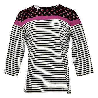 Denim &co. kvinners topp trykt stripe topp elfenben A383256