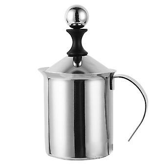 400mlダブルメッシュマニュアルミルクフレザーステンレススチールハンドポンプミルクフォーマーハンドヘルドミルク泡立ちピッチャー用カプチーオンコーヒー
