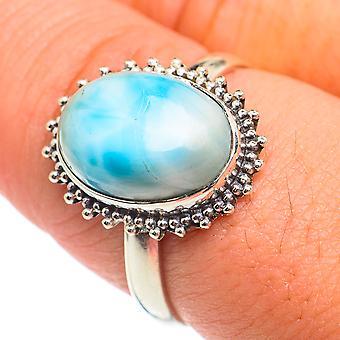 Larimar Ring Taille 9 (925 Argent Sterling) - Bijoux Boho Vintage faits à la main RING66989