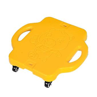 Children's plastic four-wheel outdoor sports scooter(Yellow)