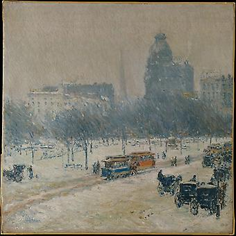 Winter In Union Square,childe Hassam Art Reproduction.impressionism Modern Hd Art Print Poster,canvas Prints Wall Art For Office Home Decor Pictures