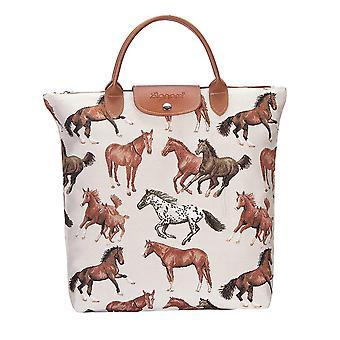 تشغيل الحصان حقيبة التسوق foldaway | حقيبة حمل بنية قابلة للطي | fdaw-rhor