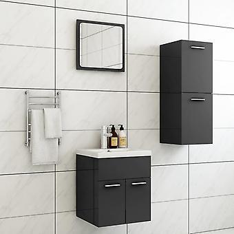 vidaXL kylpyhuoneen huonekalut asetettu korkeakiiltoinen harmaa lastulevy