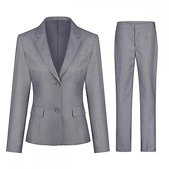 Silktaa Women's Solid Color Single Row Two Button Single Western Suit(top + Pants)
