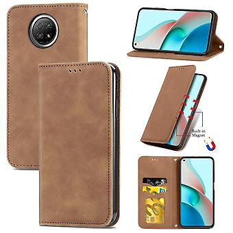 Case For Xiaomi Redmi Note 9t Magnetic Closure Leather Wallet Cover Housse Etui Shockproof - Marron