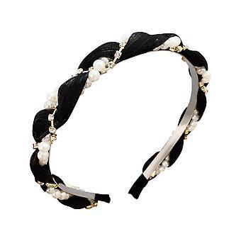 3PCS  new spring and summer new pearl wavy fabric headband hairpin hairband