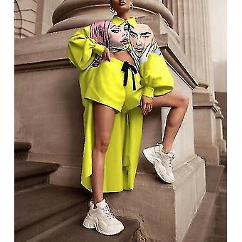 Digital Printing Long Shirt Shorts Suit Women's Clothing(XXL)