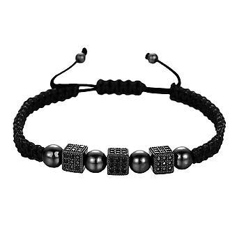 Bracelete, Encantos Quadrados - Preto