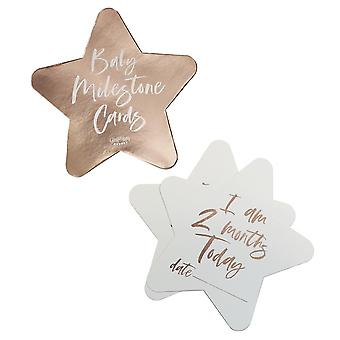 Rose Gold Foiled Milestone Baby Shower Cards -Twinkle Twinkle