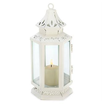 Gallery of Light Victorian Style White Candle Lantern - 8 inches, Pack of 1