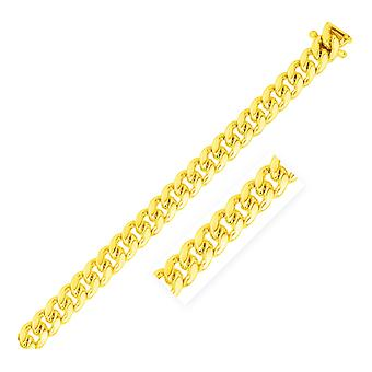 8.25mm 14k Yellow Gold Classic Miami Cuban Solid Chain