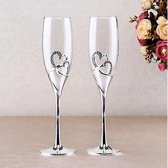 Heart Shape Wine Glass Wedding Champagne Glasses Lover Rhinestone Wedding Glass Crystal Goblet