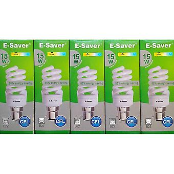 Flood spot lights pack of 5  cfl full spiral  15w = 80watt  warm white 2700k  compact fluorescent lamp  bayonet cap