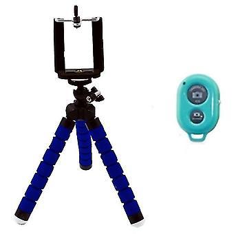 Joustava mustekala matkapuhelimen pidike ja jalusta bluetooth-kaukosäätimellä(sininen)