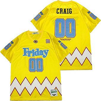 Мужская пятница Craig 00 # Желтая футбольная майка, сшитый фильм Футбольные майки Спортивная футболка Размер S-xxxl