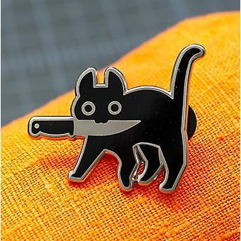Černý tvar kočky Populární smaltovaný kolík