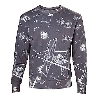 Star Wars Adult Male Imperial Fleet TIE Fighters All-Over Print Sublimation Sweater Extra Extra Large Dark Grey (SW501022STW-2XL)