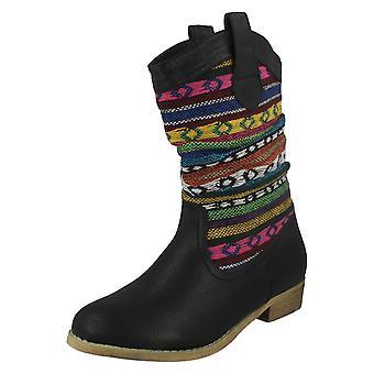 Ladies Spot On Aztec Design Cowboy Style Boots