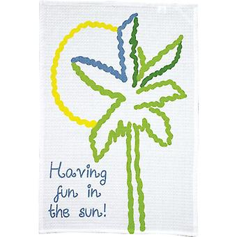 Fun in the Sun Palm Tree Print Waffle Weave Kitchen Dish Towel