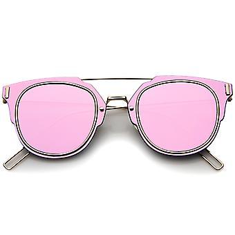 Moderne Fashion minimale draad tempel Inner-omrande kleur Mirror Lens Pantos Metal zonnebril 58mm