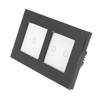 I LumoS Black Brushed Aluminium Double Frame 3 Gang 2 Way Remote Touch LED Light Switch White Insert