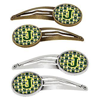 Lettera J calcio verde e giallo Set di 4 clip per capelli Barrettes