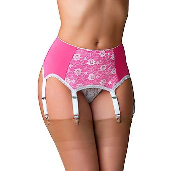 Nylon Dreams NDL66 Women's Pink Solid Colour Lace Garter Belt 6 Strap Suspender Belt