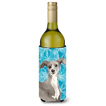 Italian Greyhound Winter Wine Bottle Beverge Insulator Hugger