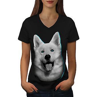 Cute Huskey Animal Dog Women BlackV-Neck T-shirt | Wellcoda