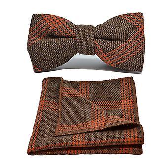 Biscuit Brown & Orange Birdseye Check Bow Tie & Pocket Square Set