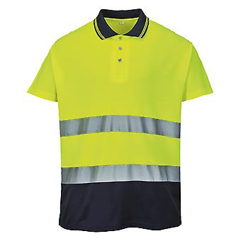 פורוסט Mens היי-ביס דו-טון כותנה חולצת פולו קומפורט