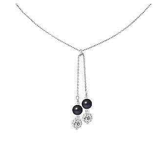女性で大規模なシルバー 925/1000 と甘い黒と白の結晶水の文化の 2 真珠を首輪します。